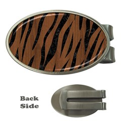 Skin3 Black Marble & Brown Wood (r) Money Clip (oval) by trendistuff