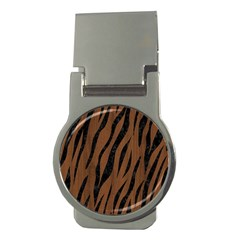 Skin3 Black Marble & Brown Wood (r) Money Clip (round) by trendistuff