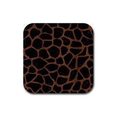 Skin1 Black Marble & Brown Wood (r) Rubber Square Coaster (4 Pack) by trendistuff