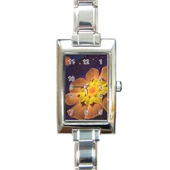 Beautiful Violet & Peach Primrose Fractal Flowers Rectangle Italian Charm Watch by beautifulfractals