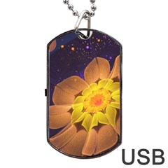 Beautiful Violet & Peach Primrose Fractal Flowers Dog Tag Usb Flash (one Side) by beautifulfractals