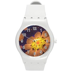 Beautiful Violet & Peach Primrose Fractal Flowers Round Plastic Sport Watch (m) by jayaprime