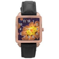 Beautiful Violet & Peach Primrose Fractal Flowers Rose Gold Leather Watch  by beautifulfractals