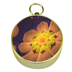 Beautiful Violet & Peach Primrose Fractal Flowers Gold Compasses by beautifulfractals