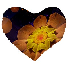 Beautiful Violet & Peach Primrose Fractal Flowers Large 19  Premium Flano Heart Shape Cushions by beautifulfractals