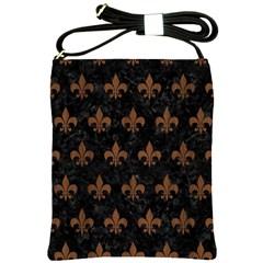 Royal1 Black Marble & Brown Wood (r) Shoulder Sling Bag by trendistuff