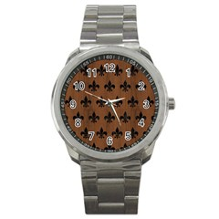 Royal1 Black Marble & Brown Wood Sport Metal Watch by trendistuff