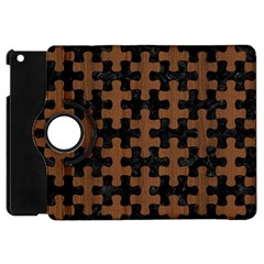 Puzzle1 Black Marble & Brown Wood Apple Ipad Mini Flip 360 Case by trendistuff