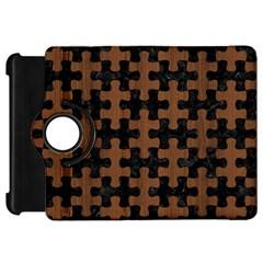 Puzzle1 Black Marble & Brown Wood Kindle Fire Hd Flip 360 Case by trendistuff