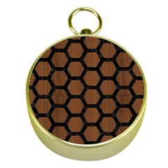 Hexagon2 Black Marble & Brown Wood (r) Gold Compass by trendistuff