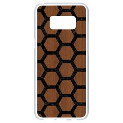 Hexagon2 Black Marble & Brown Wood (r) Samsung Galaxy S8 White Seamless Case by trendistuff