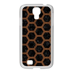 Hexagon2 Black Marble & Brown Wood Samsung Galaxy S4 I9500/ I9505 Case (white) by trendistuff