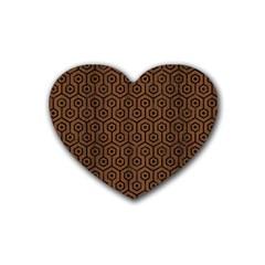 Hexagon1 Black Marble & Brown Wood (r) Rubber Heart Coaster (4 Pack) by trendistuff