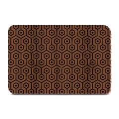 Hexagon1 Black Marble & Brown Wood (r) Plate Mat by trendistuff