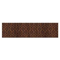 Hexagon1 Black Marble & Brown Wood (r) Satin Scarf (oblong) by trendistuff