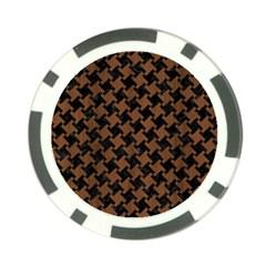 Houndstooth2 Black Marble & Brown Wood Poker Chip Card Guard by trendistuff