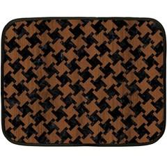 Houndstooth2 Black Marble & Brown Wood Double Sided Fleece Blanket (mini) by trendistuff