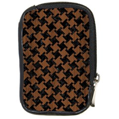 Houndstooth2 Black Marble & Brown Wood Compact Camera Leather Case by trendistuff