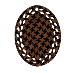 Houndstooth2 Black Marble & Brown Wood Oval Filigree Ornament (two Sides) by trendistuff