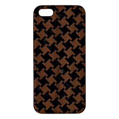 Houndstooth2 Black Marble & Brown Wood Iphone 5s/ Se Premium Hardshell Case by trendistuff