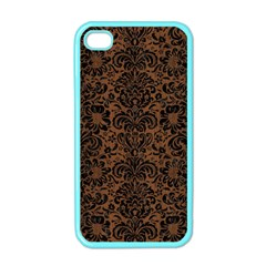 Damask2 Black Marble & Brown Wood (r) Apple Iphone 4 Case (color) by trendistuff