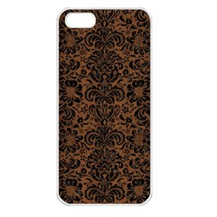 Damask2 Black Marble & Brown Wood (r) Apple Iphone 5 Seamless Case (white) by trendistuff