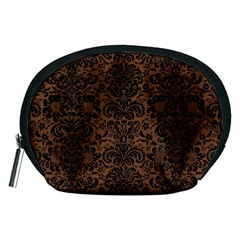 Damask2 Black Marble & Brown Wood (r) Accessory Pouch (medium) by trendistuff