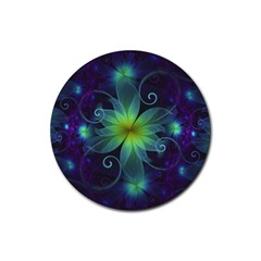 Blue And Green Fractal Flower Of A Stargazer Lily Rubber Round Coaster (4 Pack)  by beautifulfractals