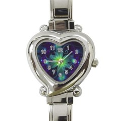 Blue And Green Fractal Flower Of A Stargazer Lily Heart Italian Charm Watch by beautifulfractals