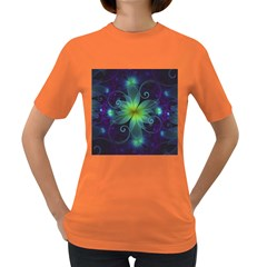 Blue And Green Fractal Flower Of A Stargazer Lily Women s Dark T Shirt by beautifulfractals