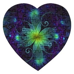 Blue And Green Fractal Flower Of A Stargazer Lily Jigsaw Puzzle (heart) by beautifulfractals