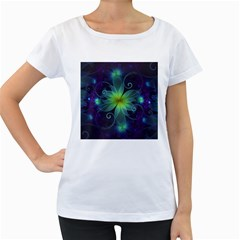 Blue And Green Fractal Flower Of A Stargazer Lily Women s Loose Fit T Shirt (white) by beautifulfractals