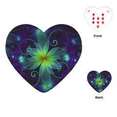 Blue And Green Fractal Flower Of A Stargazer Lily Playing Cards (heart)  by beautifulfractals