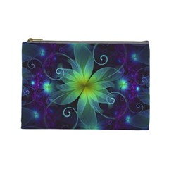 Blue And Green Fractal Flower Of A Stargazer Lily Cosmetic Bag (large)  by beautifulfractals
