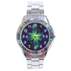 Blue And Green Fractal Flower Of A Stargazer Lily Stainless Steel Analogue Watch by beautifulfractals