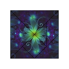 Blue And Green Fractal Flower Of A Stargazer Lily Acrylic Tangram Puzzle (4  X 4 ) by beautifulfractals