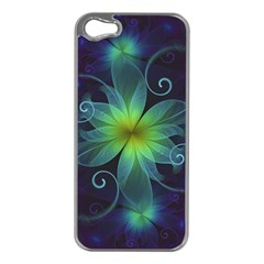 Blue And Green Fractal Flower Of A Stargazer Lily Apple Iphone 5 Case (silver) by beautifulfractals