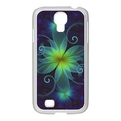 Blue And Green Fractal Flower Of A Stargazer Lily Samsung Galaxy S4 I9500/ I9505 Case (white) by beautifulfractals