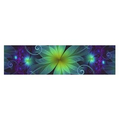 Blue And Green Fractal Flower Of A Stargazer Lily Satin Scarf (oblong) by beautifulfractals