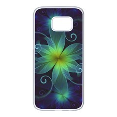 Blue And Green Fractal Flower Of A Stargazer Lily Samsung Galaxy S7 Edge White Seamless Case by beautifulfractals