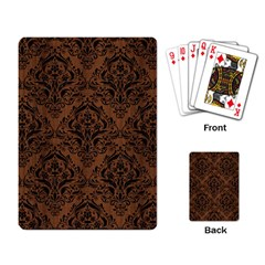 Damask1 Black Marble & Brown Wood (r) Playing Cards Single Design by trendistuff