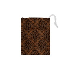 Damask1 Black Marble & Brown Wood (r) Drawstring Pouch (xs) by trendistuff