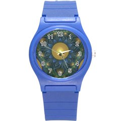 Beautiful Orange & Blue Fractal Sunflower Of Egypt Round Plastic Sport Watch (s) by beautifulfractals