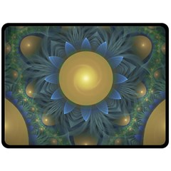 Beautiful Orange & Blue Fractal Sunflower Of Egypt Double Sided Fleece Blanket (large)  by beautifulfractals