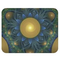 Beautiful Orange & Blue Fractal Sunflower Of Egypt Double Sided Flano Blanket (medium)  by beautifulfractals