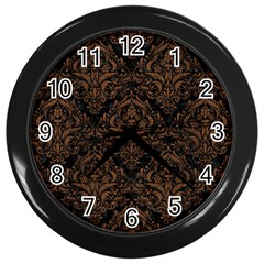 Damask1 Black Marble & Brown Wood Wall Clock (black) by trendistuff