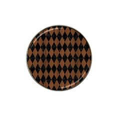 Diamond1 Black Marble & Brown Wood Hat Clip Ball Marker by trendistuff