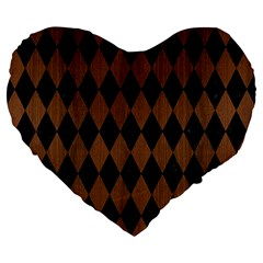 Diamond1 Black Marble & Brown Wood Large 19  Premium Flano Heart Shape Cushion by trendistuff