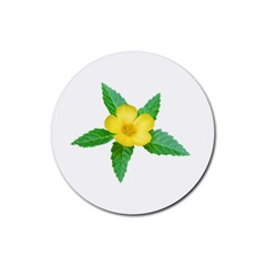 Yellow Flower With Leaves Photo Rubber Coaster (round)  by dflcprints