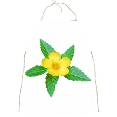 Yellow Flower With Leaves Photo Full Print Aprons by dflcprints